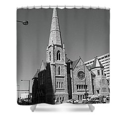 Denver Downtown Church Bw Shower Curtain by Frank Romeo