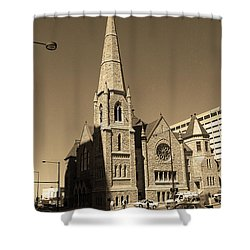 Shower Curtain featuring the photograph Denver Downtown Church Sepia by Frank Romeo