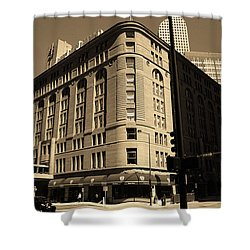 Shower Curtain featuring the photograph Denver Downtown Sepia by Frank Romeo