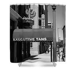 Denver Downtown Storefront Bw Shower Curtain by Frank Romeo