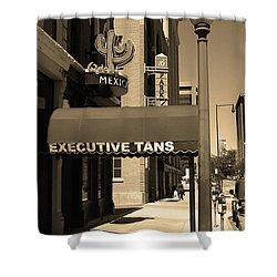 Shower Curtain featuring the photograph Denver Downtown Storefront Sepia by Frank Romeo