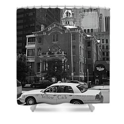 Denver Downtown With Yellow Cab Bw Shower Curtain by Frank Romeo