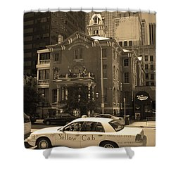 Shower Curtain featuring the photograph Denver Downtown With Yellow Cab Sepia by Frank Romeo