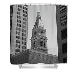 Denver - Historic D And F Clocktower 2 Bw Shower Curtain by Frank Romeo