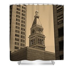 Shower Curtain featuring the photograph Denver - Historic D F Clocktower 2 Sepia by Frank Romeo
