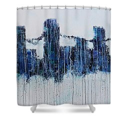 Shower Curtain featuring the painting Denver Rain by Jennifer Godshalk
