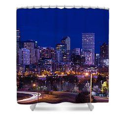 Denver Skyline At Night - Colorado Shower Curtain