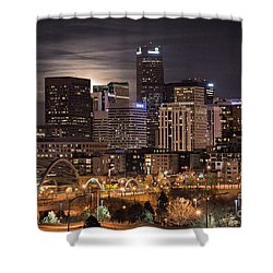 Denver Skyline At Night Shower Curtain