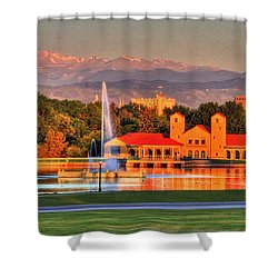 Denver Skyline Shower Curtain by Scott Mahon