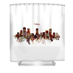 Shower Curtain featuring the mixed media Denver Skyline Silhouette by Marian Voicu