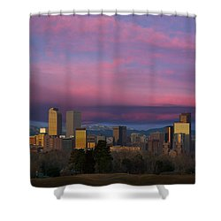 Denver Sunrise Shower Curtain by Aaron Spong
