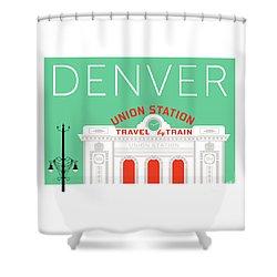 Denver Union Station/aqua Shower Curtain