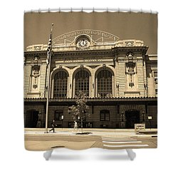 Shower Curtain featuring the photograph Denver - Union Station Sepia 5 by Frank Romeo