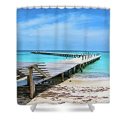 Departure Point Shower Curtain