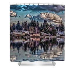 Shower Curtain featuring the digital art Depot 8 by Timothy Latta