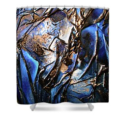 Shower Curtain featuring the mixed media Depth by Angela Stout
