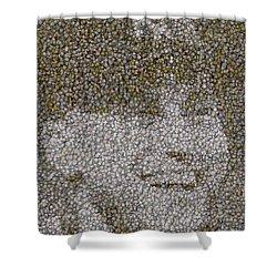 Derek Jeter Baseballs Mosaic Shower Curtain by Paul Van Scott