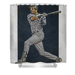 Derek Jeter New York Yankees Art 2 Shower Curtain by Joe Hamilton