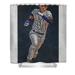 Derek Jeter New York Yankees Art 3 Shower Curtain by Joe Hamilton