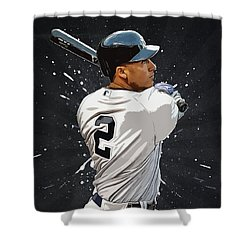 Derek Jeter Shower Curtain by Semih Yurdabak