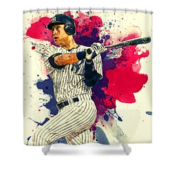 Derek Jeter Shower Curtain by Taylan Apukovska