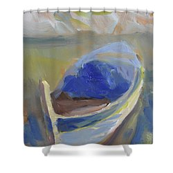 Shower Curtain featuring the painting Derek's Boat. by Julie Todd-Cundiff