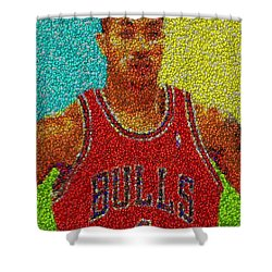 Derrick Rose Skittles Mosaic Shower Curtain by Paul Van Scott