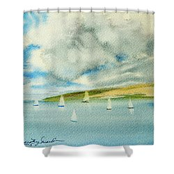Dark Clouds Threaten Derwent River Sailing Fleet Shower Curtain