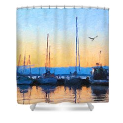 Derwent River Sunset Shower Curtain