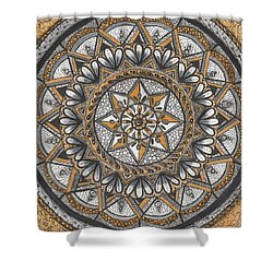 Des Tapestry In Gold-grey-black Shower Curtain by Kathy Sheeran