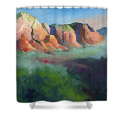 Desert Afternoon Mountains Sky And Trees Shower Curtain