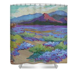 Shower Curtain featuring the painting Desert In Bloom by Diane McClary