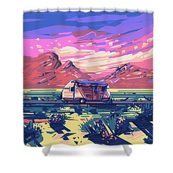 Desert Landscape Shower Curtain by Bekim Art
