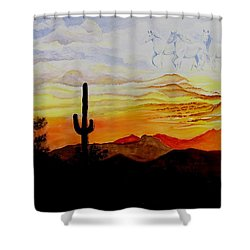 Desert Mustangs Shower Curtain by Jimmy Smith
