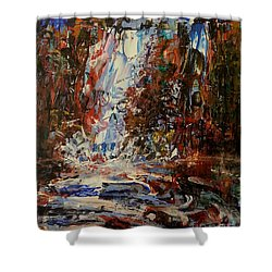 Shower Curtain featuring the painting Desert Oasis Waterfall by Reed Novotny