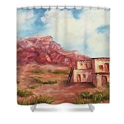 Shower Curtain featuring the painting Desert Pueblo by Roseann Gilmore