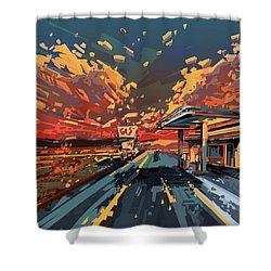 Desert Road Landscape 2 Shower Curtain by Bekim Art