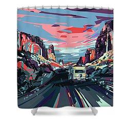 Desert Road Landscape Shower Curtain by Bekim Art