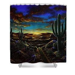 Shower Curtain featuring the painting Desert Trail by Lance Headlee
