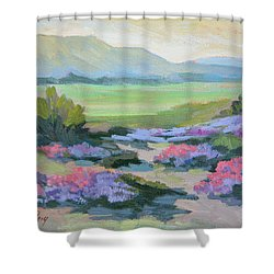 Shower Curtain featuring the painting Desert Verbena 1 by Diane McClary