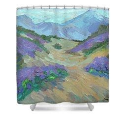 Shower Curtain featuring the painting Desert Verbena by Diane McClary