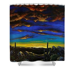 Shower Curtain featuring the painting Desert View by Lance Headlee