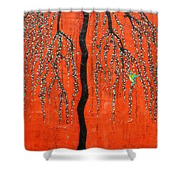 Shower Curtain featuring the mixed media Desert Willow by Natalie Briney