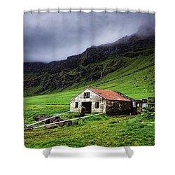 Deserted Barn In Iceland Shower Curtain