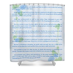 Desiderata In Blue Shower Curtain by Olga Hamilton