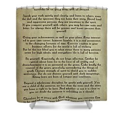 Desiderata Shower Curtain by Olga Hamilton