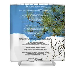 Desiderata Poem Over Sky With Clouds And Tree Branches Shower Curtain