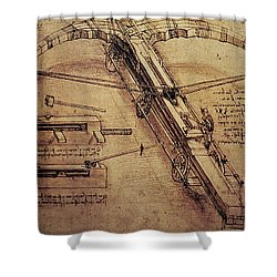 Design For A Giant Crossbow Shower Curtain by Leonardo Da Vinci