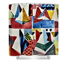 Shower Curtain featuring the painting Designs For Pyramids by Mindy Newman