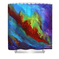 Desire A Vibrant Colorful Abstract Painting With A Glittering Center  Shower Curtain